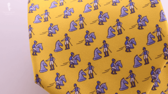Yellow Hermes tie with equestrian motif