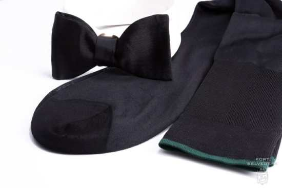 These over-the-calf socks in black silk from Fort Belvedere will properly complement any black-tie or white-tie ensemble.
