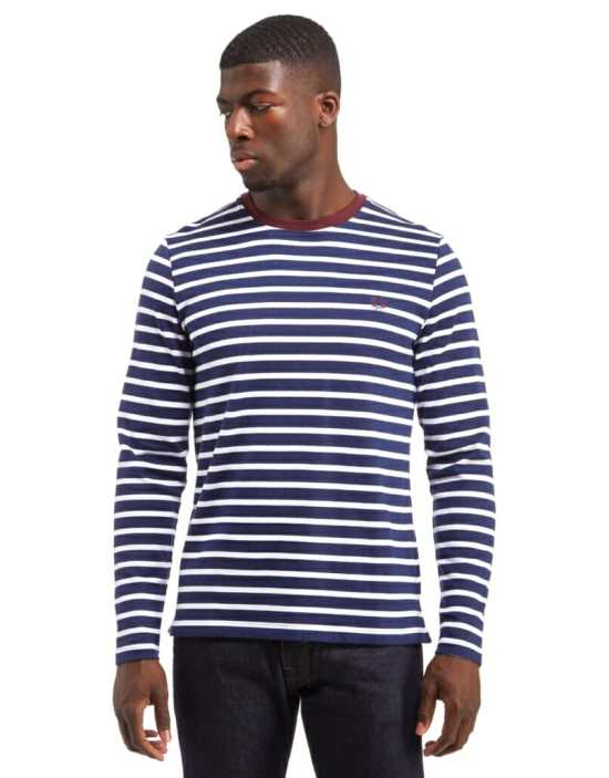 A long-sleeved shirt inspired by the original Breton style would be an easy way to incorporate stripes into your wardrobe.