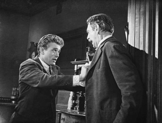 "James Dean and Raymond Massey, in the climactic scene from ""East of Eden."""