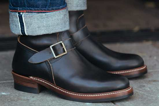Leather engineer boots worn with cuffed denim jeans, as James Dean did in Rebel Without a Cause.