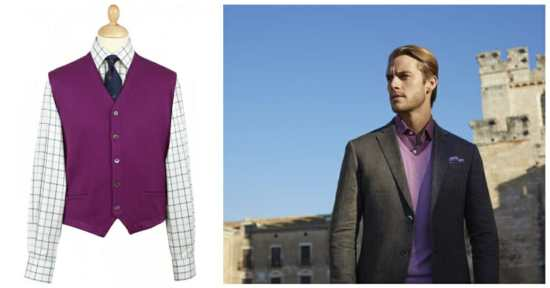 Two examples of purple knitwear