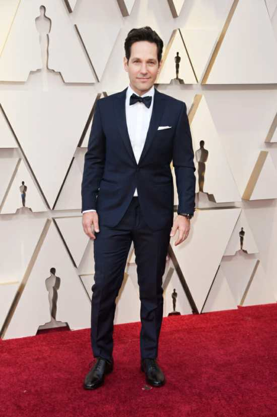 A cummerbund or other waist covering would have taken Paul Rudd's midnight-blue, shawl-collared tuxedo from good to great. [Photo: Frazer Harrison/Getty]