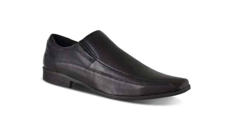 A black square toe shoe