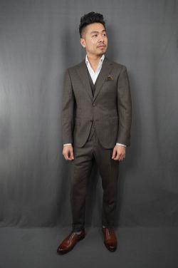 Black Lapel Charcoal Brown Check Suit Front Buttoned Fit