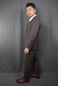 Black Lapel Charcoal Brown Check Suit Side Fit