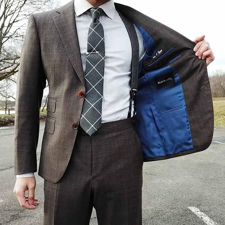 Black Lapel Suit With Suspenders