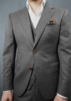 Charcoal Brown Check Suit Fit Detail