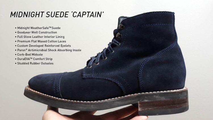 Midnight Suede Captain Cap Toe Boots