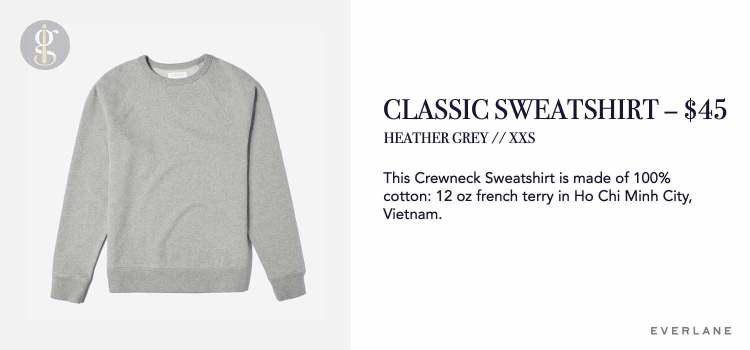 Everlane Grey Sweatshirt Details