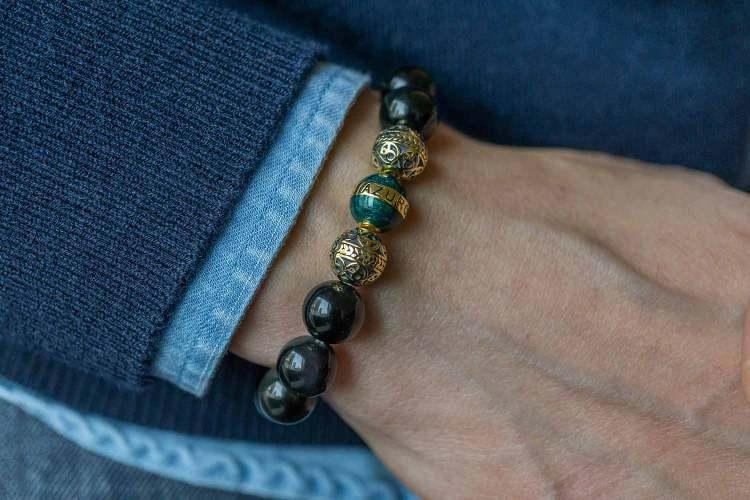 Azuro Republic Gold Enamel Turquoise Obsidian Bracelet On Wrist Details