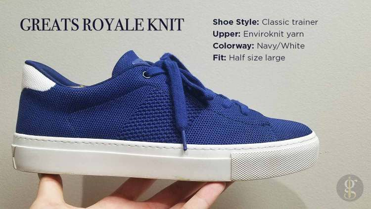 Greats Royale Knit Navy White Sneaker Details