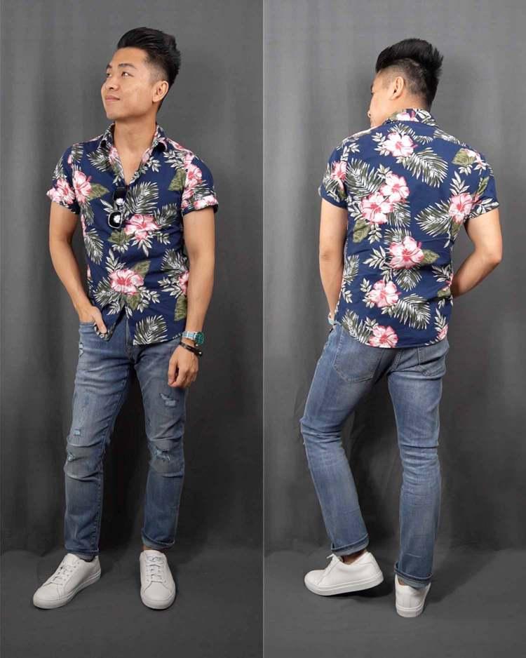 Floral Print Short Sleeve Button Down Shirt Outfit