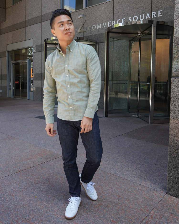 Ash & Erie Muted Green Everyday Shirt Outfit