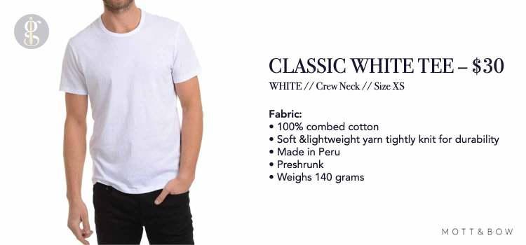 Mott & Bow Classic White T-Shirt Details