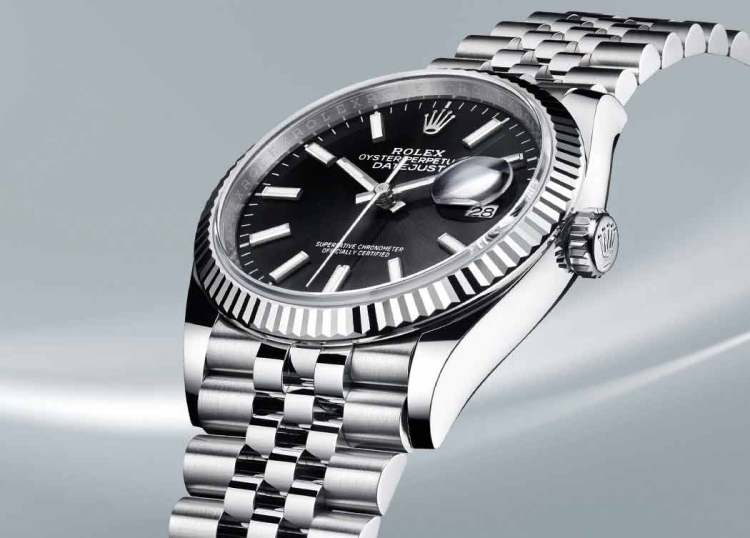 Silver Stainless Steel Rolex Oyster Datejust Watch