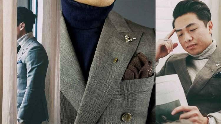gentleman turtleneck under suit jacket