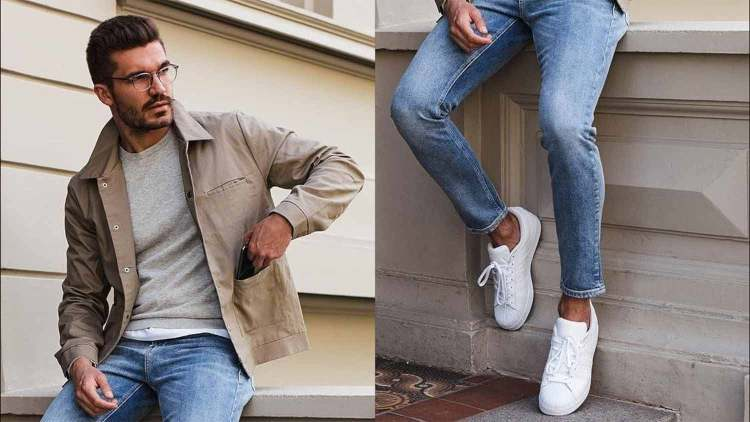 minimalism casual jeans sneakers