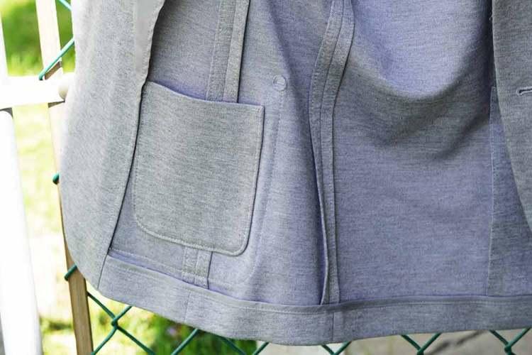 jersey knit blazer interior pocket