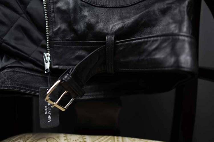 Barneys Originals Belted Biker Jacket Belted Design
