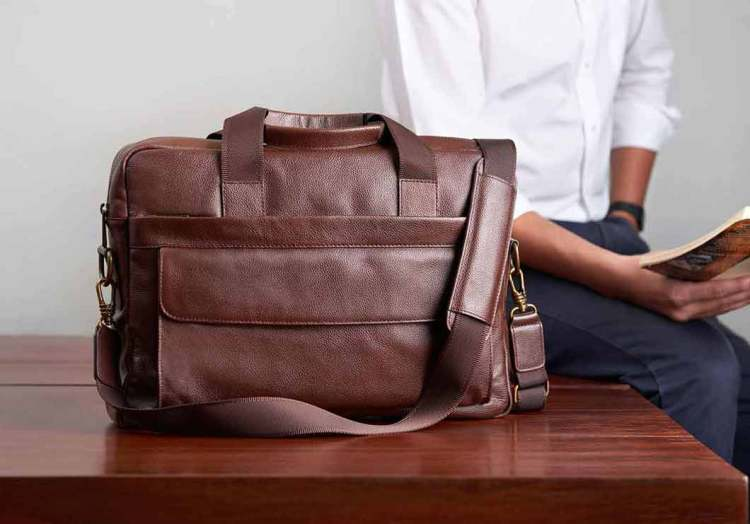 daniels brown leather briefcase