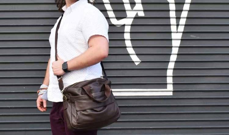 daniels leather briefcase over shoulder