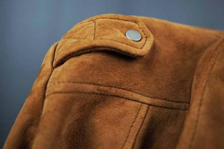 tan suede biker jacket shoulder epaulette