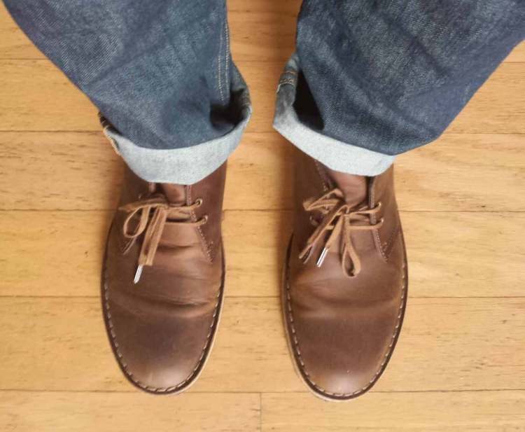clarks desert boot jeans top down view