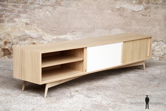meuble hifi tv grand bas vintage bois sur mesure made in france