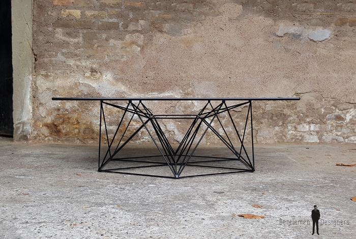 Table Basse Vintagedesign Pieds Mtal Eiffel Plateau Verre