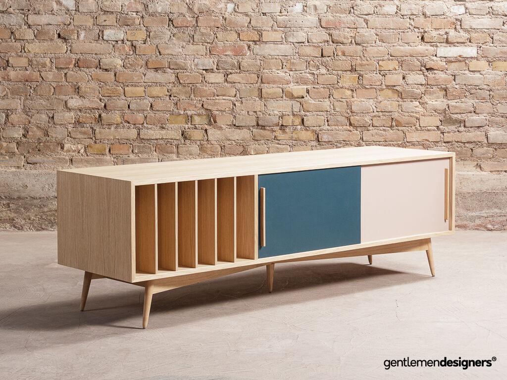 meuble tv enfilade en chene 2 portes coulissantes et rangements vinyles