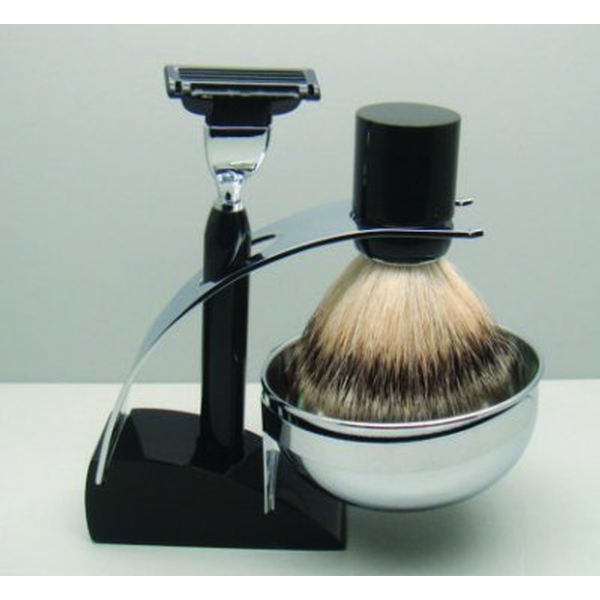 Comoy 3083 Badger Shave Set Black With Bowl Pipe Cigar