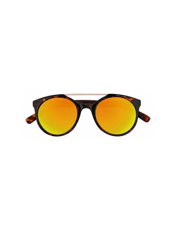 zippo orange multicoated circular sunglasses with brow bar 1 min
