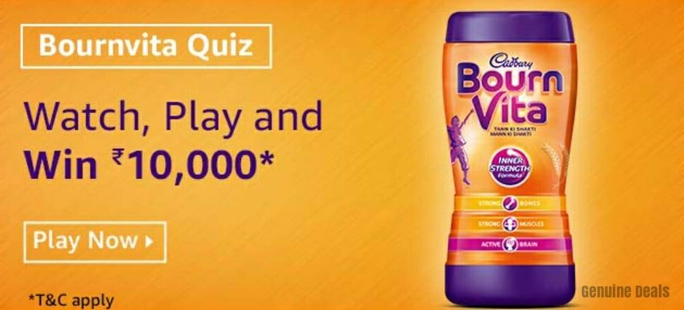 Amazon Bournvita Quiz Answers – Win Rs. 10000