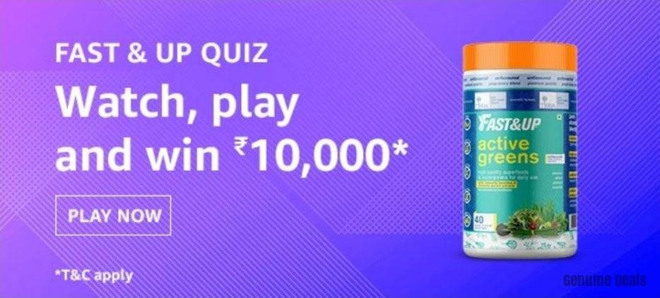 Amazon Fast & Up Quiz Answers – win Rs. 10000