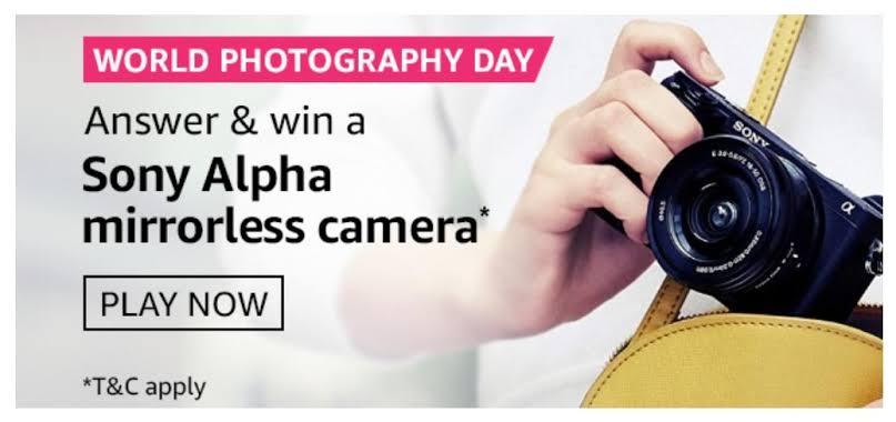 Amazon World Photography Day Quiz Answers – Win Sony Camera