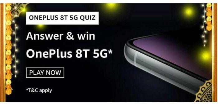 Amazon OnePlus 8T 5G Quiz Answers – Win OnePlus 8T 5G
