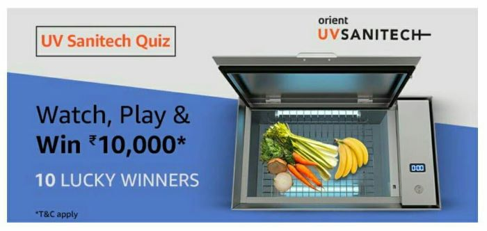 Amazon UV Sanitech Quiz Answers – Win Rs. 10,000