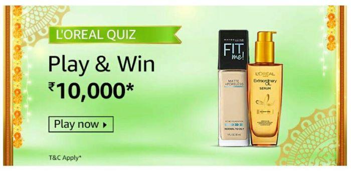 Amazon Loreal Quiz Answers – Win Rs. 10,000 Paybalance