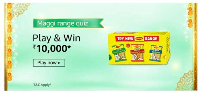 Amazon Maggi Range Quiz Answers – Win Rs. 10,000 Paybalance