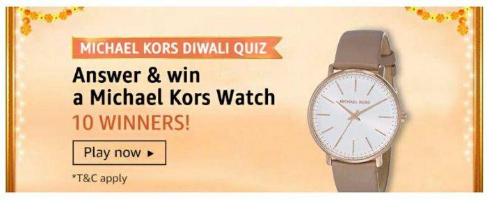 Amazon Michael Kors Diwali Quiz Answers – Win Michael Kors Watch