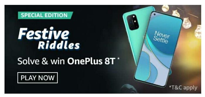 Amazon Festive Riddles Quiz Answers – Win OnePlus 8T