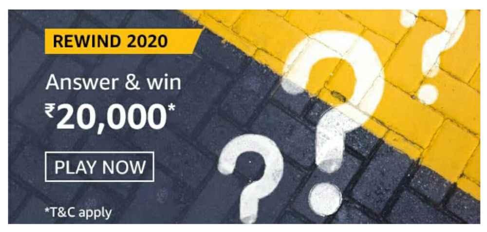 Amazon Rewind 2020 Quiz Answers – Win Rs. 20,000 Paybalance