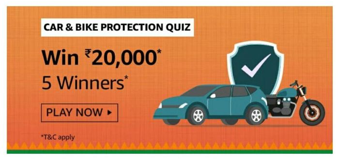 Amazon Car & Bike Protection Quiz Answers – Win Rs.20,000