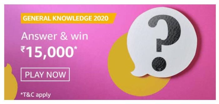 Amazon General Knowledge 2020 Quiz Answers – Win Rs.15,000