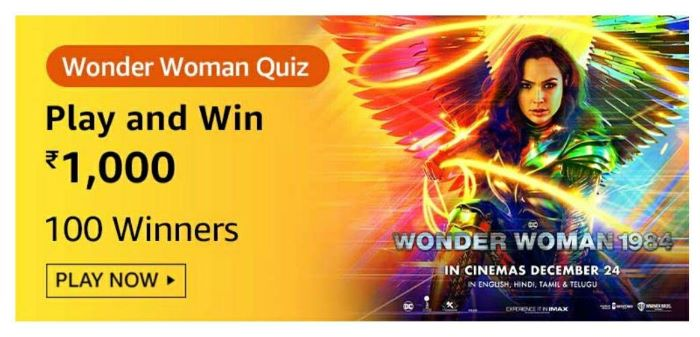 Amazon Wonder Woman Quiz Answers – Win Rs.1,000 Paybalance