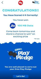 Myjio Oreo Play Pledge Quiz