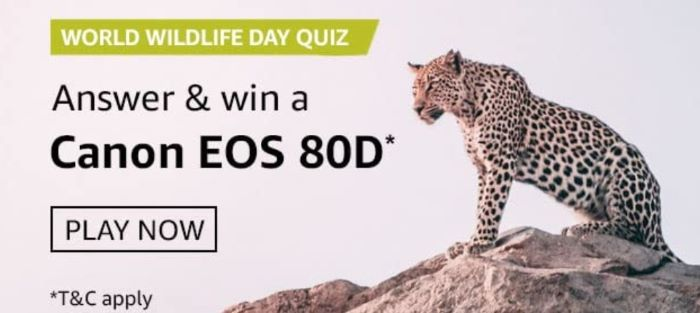 Amazon World Wildlife Day Quiz Answers – Win Canon EOS 80D