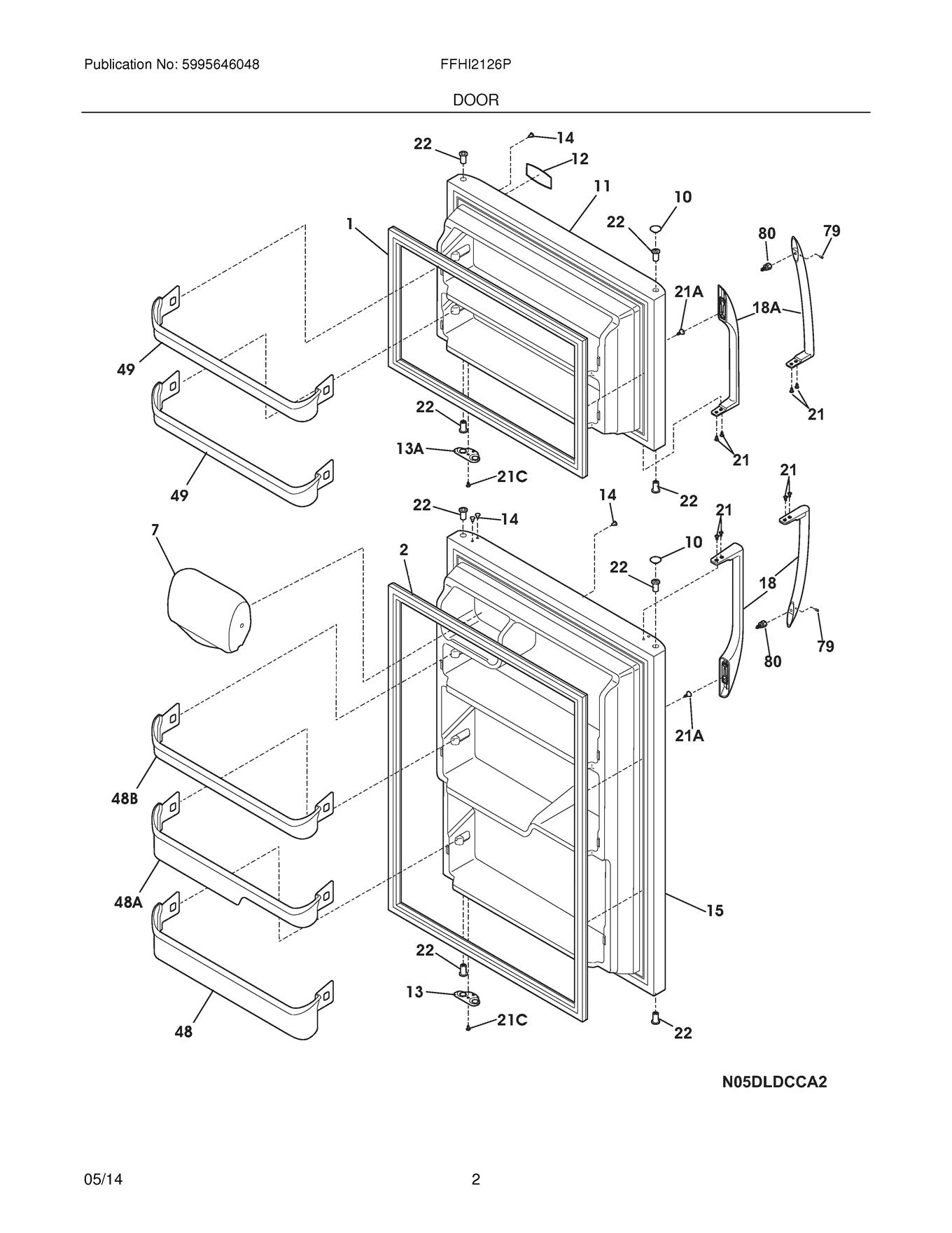 Frigidaire Ffhi Ps4 Refrigerator Door Shelf Retainer