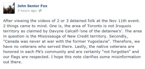 john-fox-davyn-calfchild-davin-ouimet-criticism-remembrance-day-2013-flag-arrested